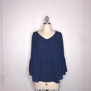 Valerie Stevens navy blue blouse